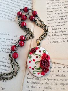 Polymer Clay Jewelry Antiqued Rose Necklace by ArtfulParadox, $35.00