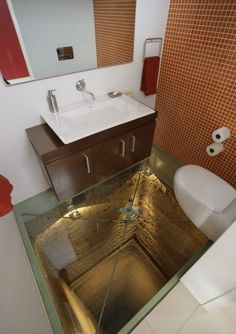 On the 15th floor penthouse PPDG in Guadalajara, a toilet located in an open elevator shaft, and the bottom of the toilet is transparent. That is to say, for thrills.