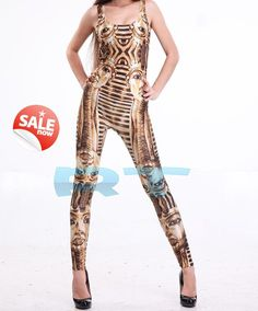 Ancient Egyptian Jumpsuit Clothing Yoga Leggings Yoga Pants TIGHTS Women Egyptian Costume Bodycon Bandage Party Sexy Pant 90s Jumpsuit