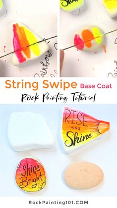 Use string to easily blend paint onto rocks. This technique creates a beautiful base coat for your rock painting ideas. It's perfect for creating kindness rocks. #blending #paintedrocks #rockpainting101 Rock Painting Supplies, Rock Painting Ideas Easy, Rock Painting Designs, Art Therapy Activities, Kindness Rocks, Base Coat, Acrylic Pouring, Stone Art, Stone Painting
