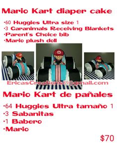 Mario kart diaper cake gift or centerpiece