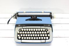 Blue Smith Corona Galaxie Twelve Typewriter with Carry Case-Mid Century