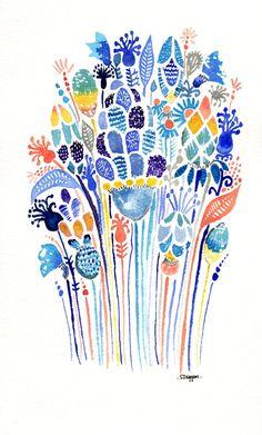 Stampa acquerello - astratto floreale, Bouquet, fiori colorati
