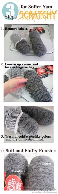 Make yarn softer - YES! I'm sick of spending an arm and a leg on the soft stuff that has crappy color choices! Now I can pick the scratchy/cheaper stuff and not have to worry!