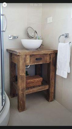 Rustic Bathroom Designs, Rustic Bathroom Vanities, Rustic Bathrooms, Wood Bathroom, Downstairs Bathroom, Bathroom Flooring, Small Bathroom, Bathroom Shelves, Log Cabin Bathrooms