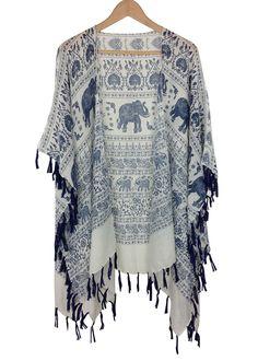 boho elephant kimono Only type I will wear will have elephants Mode Hippie, Mode Boho, Boho Outfits, Casual Outfits, Fashion Outfits, Hippie Chic Outfits, Bohemian Style, Boho Chic, Look Kimono