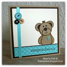 Flower Sparkle: Punch Art Teddy Bear Congratulations Card