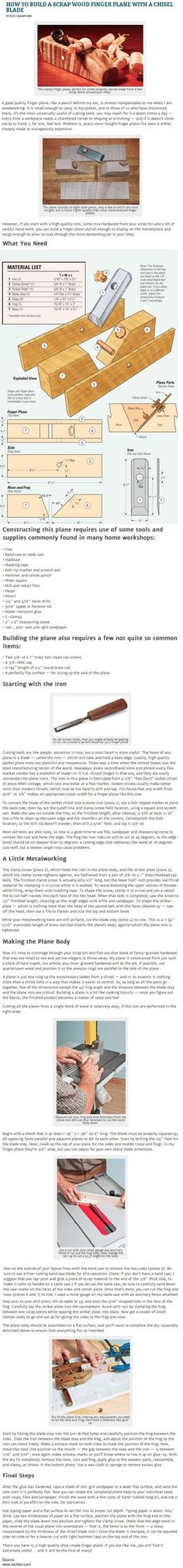 How to Build a Scrap Wood Finger Plane with a Chisel Blade