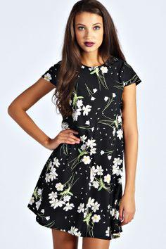 Daisy Cap Sleeve Swing Dress at boohoo.com