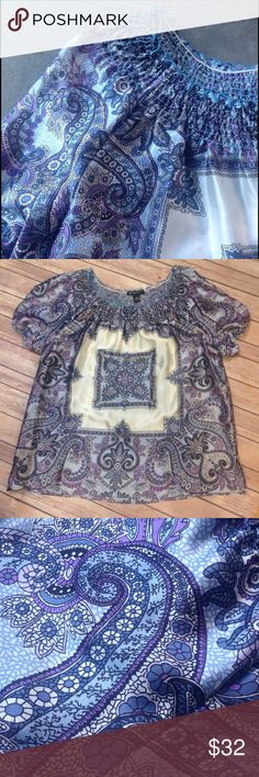 INC Short Sleeve Blue & Purple Silk Blouse - 14W Blue, purple, blue, white and black abstract floral silk with white square on the middle and smocking around the neck. New Condition INC International Concepts Tops Blouses
