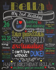 Customized 16x20 chalkboard poster for first birthday party. Custom printable file, $10 to get it printed at staples