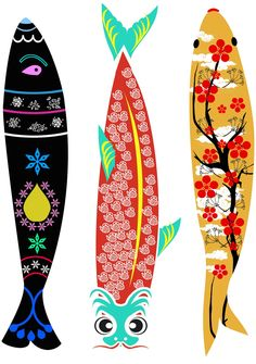 These are great ideas to use for applique. Wood Fish, Fish Crafts, Fish Design, Fish Art, Japanese Art, Collages, Illustrators, Cool Art, Art Drawings