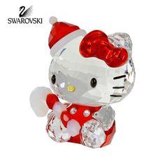 "Swarovski Crystal Figurine Christmas HELLO KITTY SANTA #1142935 Size: 2"" x 1.5"" New in original box"