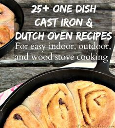 One dish cast iron Dutch oven recipes. These are perfect for using indoors, as well as outdoor cooking and on the wood stove for when the power is out, being prepared or saving money on your electric bill. These are some great cast iron Dutch oven re Cast Iron Skillet Cooking, Iron Skillet Recipes, Cast Iron Recipes, Skillet Meals, Wood Stove Cooking, Oven Cooking, Basic Cooking, Fire Cooking, Cooking Light
