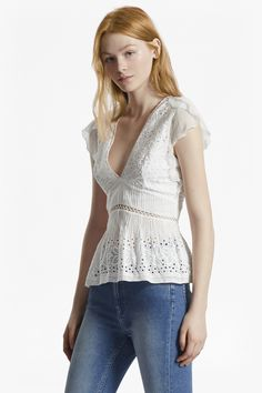 """Short-sleeved embroidered cotton top with Broderie Anglaise and laddering Contrast flared short sleeves in sheer chiffon Deep V neck Peplum hem with pleats Back zip fastening with split Fit-and-flare fit — fits closely at the waist and splays out from waist to hem UK size 10 centre-back length is 59.5cm Our lead model is 5ft 11"""" and is wearing a UK size 10 in Summer White."""