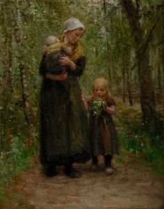 Mother and Children, Blommers, Bernardus Johannes. Dutch (1845-1914) by latasha