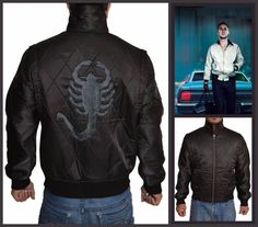 Ryan Gosling Scorpion Drive Black Jacket Ryan Gosling Drive, Scorpion, Black Fabric, Rib Knit, Bomber Jacket, Leather Jacket, Celebs, Sleeves, Jackets