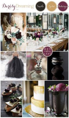 Darkly Dreaming – A Moody, Romantic Inspiration Board in Smoke, Gold, and Aubergine