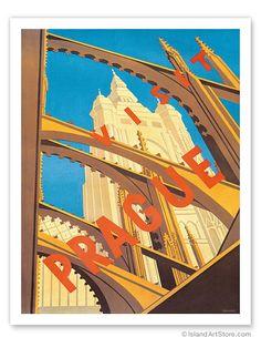 Visit Prague - Czechoslovakia - St. Vitus Cathedral, Czech Republi Milenac - Giclée Art Prints & Posters Milena Fnoukova c. 1930's
