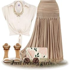 plus size neutral maxi skirt- Earthy tones summer outfits http://www.justtrendygirls.com/earthy-tones-summer-outfits/