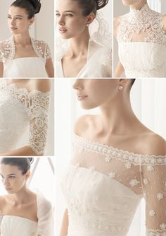 Bridal Jackets, Capes, and Boleros – They add visual interest and a little touch of coverage to any strapless wedding dress. Aire Barcelona and  Rosa Clara have an amazing selection of lace and sheer bridal jackets.