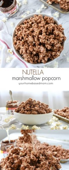 Nutella Marshmallow Popcorn Treat Recipe - the perfect combination of sweetness and gooeyness. Bet you can't stop eating it!