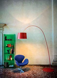 'Twiggy' by Marc Sadler, 2006 and 'Binik' by Ionna Vautrin, Photo by Andrea Ferrari, © Foscarini, RITRATTI-volume Twiggy, Interior Lighting, Lighting Design, Wooden Lawn Chairs, Swan Chair, Office Lamp, Parlor Room, Arc Lamp, Italian Lighting