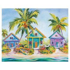 Liven up any wall space with the exuberant color and warm, evocative imagery of the Masterpiece Art Gallery Kathleen Denis Island Charm Canvas Wall Art. Lively piece showcases a tropical village along the shore of a beach in vivid colors. Canvas Frame, Canvas Wall Art, Caribbean Art, Up Book, Tropical Art, Tropical Paradise, Thing 1, Canvas Art Prints, Wall Prints