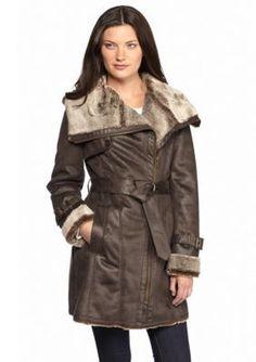 Marc New York  Asymmetrical Zip Belted Faux Fur Coat