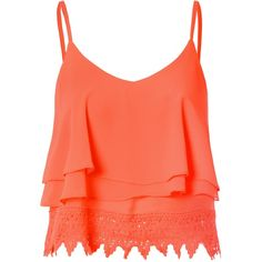 Orange Lace Cropped Cami Top ($14) ❤ liked on Polyvore featuring tops, shirts, crop tops, tank tops, tanks, orange, red lace camisole, orange top, lace tops and cami top
