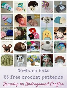 Newborn Hats: 25 free crochet patterns via Underground Crafter | Find your next baby shower gift in this roundup of adorable crocheted hats!