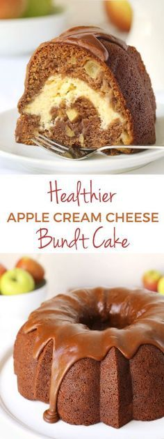 Healthier Apple Cream Cheese Bundt Cake with Praline Frosting {100% whole grain but can also be made with all-purpose flour}
