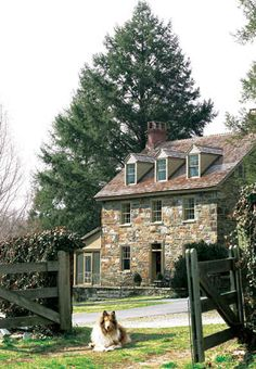 """Old Stone Farmhouse, Chadds Ford, Pennsylvania ~♡~ This is the house that was used in the filming of the movie """"Marley and Me."""" Marley was a Lab, but I spy a Collie in this photograph! Marley And Me, Stone Cottages, Stone Houses, Boho Home, Old Stone, Farm Life, Old Houses, Farm Houses, Facades"""