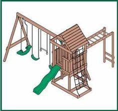 ::I CHANGED THE LINK FROM SPAM SITE, BUT THE PICTURE IS COOL:: Wood Swingset Plans | How To build a Easy DIY Woodworking Projects - Monkey bars AND a slide, and a climbing net; could lose the see-saw swing in favor of another tweety bird swing