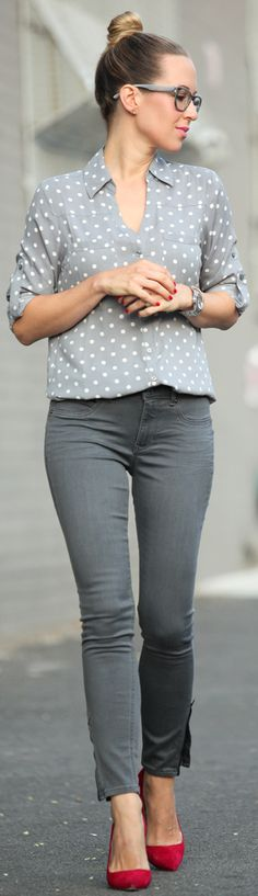 Express Grey And White Women's Polka Dot Button Down by Brooklyn Blonde