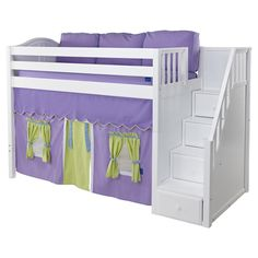 Maxtrix Galant Playhouse Mid Loft in White w/ Stairs (Curve Bed Ends) Kids Beds With Storage, Cool Beds For Kids, Bed Storage, Toddler Furniture, Baby Furniture, Light Blue Curtains, Playhouse Bed, Curved Bed, Pink Bedroom Decor