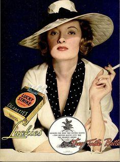 Vintage Advert for Lucky Strike Cigarettes 1935