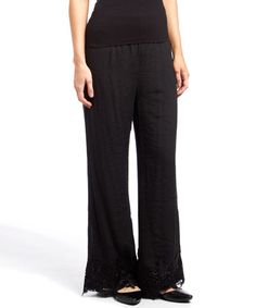 Another great find on #zulily! Black Lace-Trim Silk-Blend Palazzo Pants #zulilyfinds