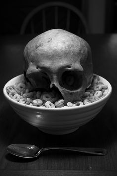 skull | cereal | breakfast |  black & white | ironic | art | photography | black | mood