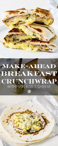 Frozen Make Ahead Breakfast Ideas: Ham, Egg, and Cheese Breakfast Quesadilla. Like homemade frozen burritos but better. These EASY quesadillas, like copycat taco bell crunch wraps, come together QUICKLY and reheat in the oven or toaster oven so you can take them to work - or heat them in the oven while you get ready. With egg, ham, and cheese, your whole family will love them. Such a crowd pleaser!