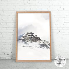 Winter Mountain - Minimalist soothing print- Printable Wall art - Digital print - Modern Scandinavian design - Photography