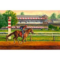 """29 Likes, 4 Comments - Sharon Crute (@sharon_crute) on Instagram: """"The Reds Have It 24""""x36"""" oil on canvas #horseracing #saratogaracecourse  #training #oilpainting…"""""""