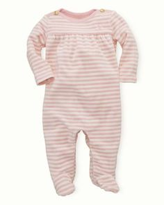 Ralph Lauren Childrenswear Infant Girls' Stripe Velour Coverall - Sizes 3-9 Months - Girl - Newborn (0-9 months) - BABY - Kids - Bloomingdale's