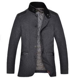 Men's Stand Collar Jacket with PU Leather Details