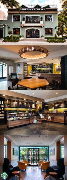 The Masaryk Spencer store in Mexico City was the 100th Starbucks to open in Mexico. This store reflects an eclectic Californian style with Art Deco elements, inspired by the 1930s house it calls home.