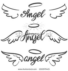 Illustration about Angel wings icon sketch collection, religious calligraphic text symbol of Christianity hand drawn vector illustration sketch . Illustration of retro, freedom, insignia - 109819771 Kritzelei Tattoo, Back Tattoo, Tattoo Arrow, Tattoo Wolf, Tattoo Bird, Mini Tattoos, Body Art Tattoos, Illustration Sketches, Illustrations