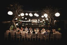Traditional Balinese dinner. Love the long table and the lights. Engagement wishes.