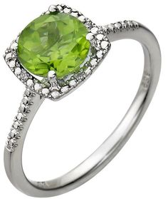 Gorgeous Peridot & Diamond Halo Engagement Ring or by DKVJewelry