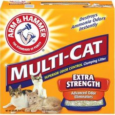The more cats you have, the more you need the extra-strength odor elimination of ARM & HAMMER Multi-Cat Strength Clumping Litter with Ammonia Odor Block for Clumping Cat Litter, Pet Odors, Cat Supplies, Pet Care, Your Pet, Strength, Packing, Pets, Baking Soda