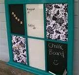repurposed old window frame turned into white board/dry erase board, chalk board, and bulletin board.